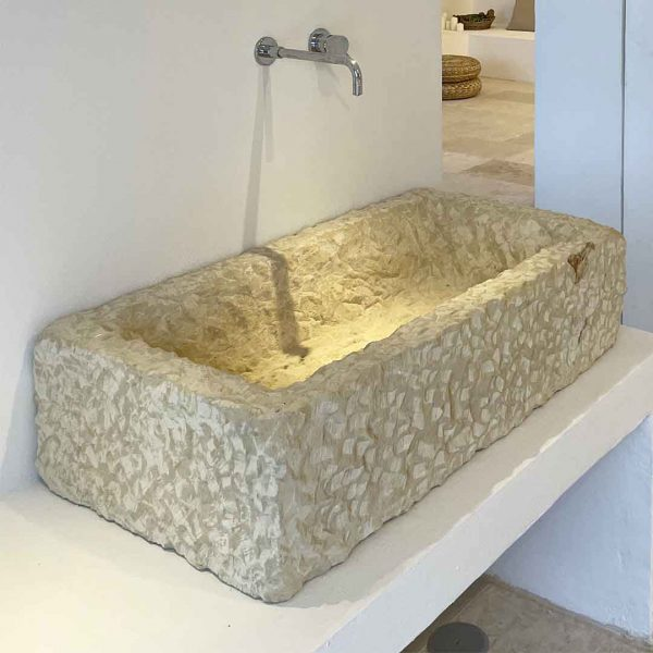 Lavabo Pilozza rettangolare design effetto materico in interno