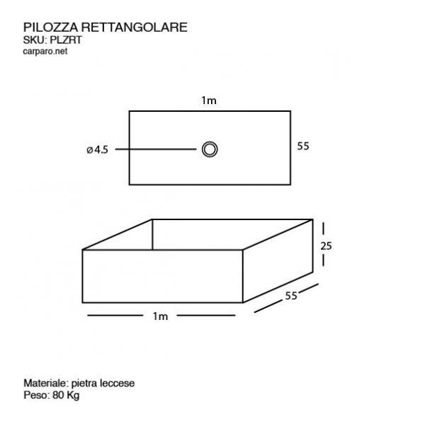 Sheda Tecnica Lavabo Pilozza rettangolare design effetto materico