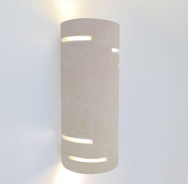 Applique Cilindro per interni in pietra leccese