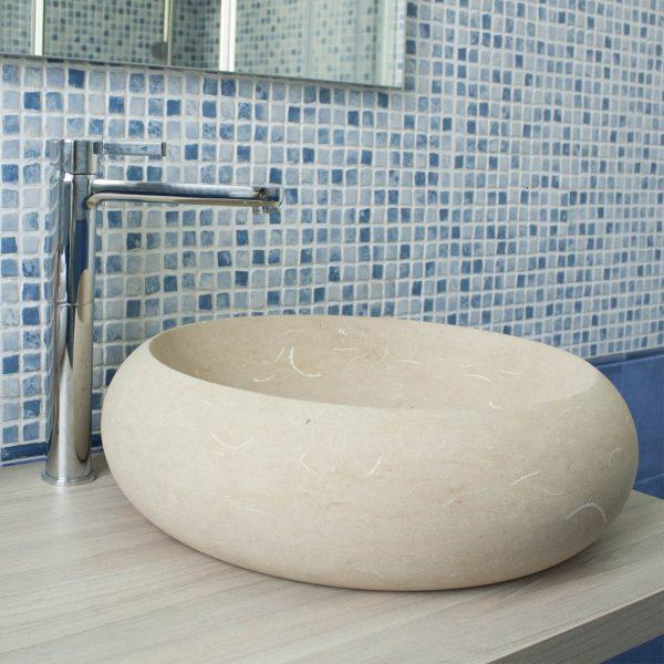 lavabo da appoggio pietra leccese forma tonda