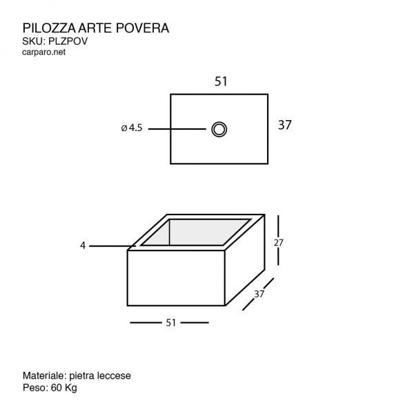 scheda tecnica lavabo pilozza in pietra leccese